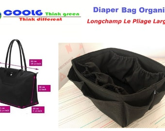 Diaper Bag organizer Insert For Longchamp Le Pliage Large Tote Bag, Solid Black, Made to order