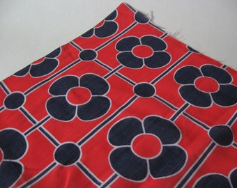 Semi sheer mid century mod daisy square flower fabric 2.5 yards red white blue material 60s 70s