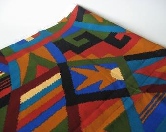 Stunning retro abstract print medium weight cotton upholstery vintage fabric brown blue black green helix print Cranston Mills