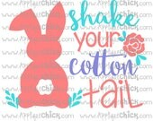 Shake Your Cottontail, Shake Your Cotton Tail, Shake Your Bunny Tail SVG Clipart DXF