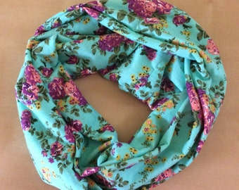 Jersey knit infinity scarf - aqua with purple and pink flowers