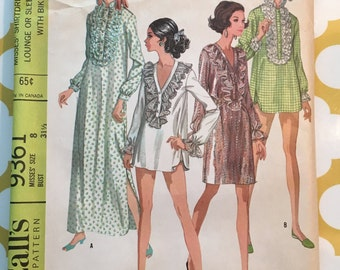RARE 1968 McCalls  Sewing Pattern 9361 Misses Ruffle Front Edwardian Shirt Dress Nightgown w/Bikini Size 8 UNCUT- Misses Sleepwear Pattern
