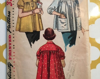 1950's Simplicity Sewing Pattern 4447 Misses Maternity Full Top, Jacket Size 14 uncut- 1950's  maternity pattern, maternity top pattern