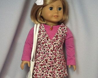 18 Inch Doll Clothes FLowered Jumper, Shirt, Purse and Necklace to fit dolls like American Girl