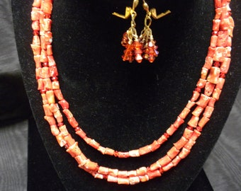 Genuine Coral with Swarovski Crystal Necklace & Earrings