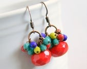 carmelita beaded drop earrings, red earrings, rainbow, boho, bohemian, copper, colorful