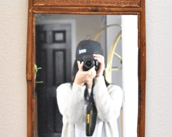 vintage bamboo wood wall hanging mirror