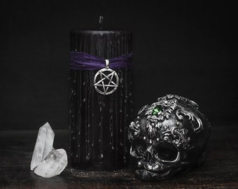 Witches black magic candle, wicca ritual candle, gothic candles, satanic rites, curio home decor candle, Witchcraft spell candle, ritualist