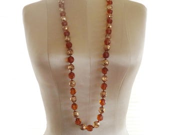 Joan Rivers Czech Glass Bead Amber Color and Gold Glass Beads Long Bold Statement Necklace
