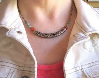 Bohemian Rustic Copper Beaded Choker Necklace with African Turquoise and Firepolish Orange Czech Glass Bohemian Gypsy, Casual Copper Jewelry