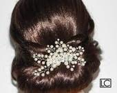 Pearl Bridal Hair Comb Swarovski Ivory Pearl Floral Hair Comb Wedding Pearl Hair Piece Pearl CZ Headpiece Bridal Ivory Pearl Hair Jewelry