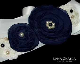 Navy Blue White Flower Girl Sash Dark Blue Floral Sash Double Faced Satin Belt White Blue Flowers Sash Wedding Navy Blue Sash Rustic Sash