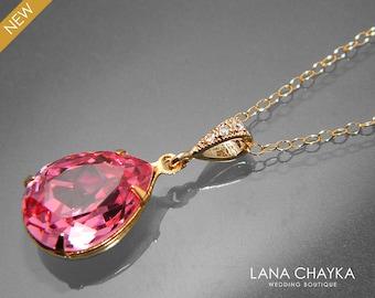 Pink Crystal Gold Necklace Swarovski Rose Pink Rhinestone Necklace Pink Teardrop Crystal Necklace Bridal Pink Necklace Wedding Pink Jewelry