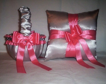 Silver Satin With Coral Ribbon Trim Flower Girl Basket And Ring Bearer Pillow