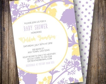 Floral Silhouette Baby Shower Invitation, Floral Silhouette Baby Shower Invite, Printable Floral Baby Shower Invitation in Purple and Yellow