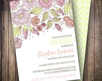Springtime Floral Baby Shower Invitation, Springtime Floral Baby Shower Invite, Printable Baby Shower Invitation - Florals in Pink, Green