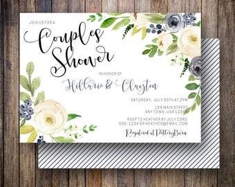 Floral Couples Shower Invitation, Watercolor Couples Shower, Floral Wedding Shower, Navy Couple Shower Invite in Navy, Cream, Green