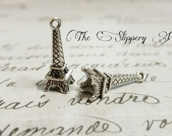 Eiffel Tower Charms Paris Charms Antiqued Silver Eiffel Tower Charms France Charms 3D Charms Silver Eiffel Tower Pendants