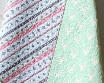 Deer Baby Quilt, Gril Aztec Modern Girl Bedding, Crib Cot Nursery Southwest Arizona Woodland Buck Toddler Pink Gray Mint Green Blanket