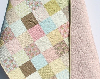 Shabby Chic Baby Girl Quilt, Cottage Style, Pastel Light Pink Blue Tan Brown White Child Youth Crib Bedding, Bespoke Blooms Moda Traditional