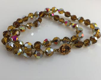Crystal Necklace Amber Faceted Glass Beads Aurora Borealis Vintage Jewelry