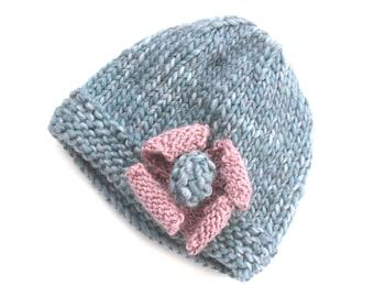 Hand knit hat , 100% woolen women's hat , beanie hat , Blue hat - dusky pink flower decoration , great christmas gift for her or winter wear