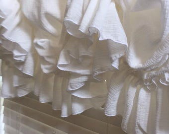 French Country Creamy White Gauze Single Ruffle Balloon Curtain