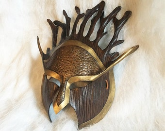Druid warrior armor tree spirit XL - Handmade Leather Costume Fantasy Greenman Mask - Renaissance Festival Masquerade