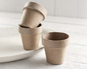 Paper Mache Flower Pots - 3 Inch Pressed Cardboard Plant Pots, Set of 3