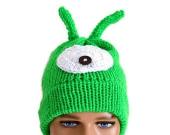 Brain Slug hat, Slug hat, Brain slug beanie,Brain Hat, Green Brain hat ,Earth Day Hat, knit Brain Hat,Mad Scientist,Triboniophorus Tyrannus