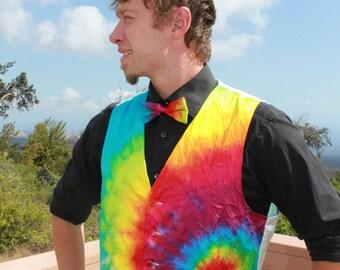 Tie Dye Silk Vest, Bow Tie and Pocket Square Set