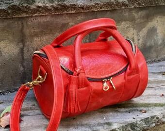 Round Leather Barrel Bag in YOUR CHOICE of leathers - Satchel Handbag - Boston Bag - Purse - Laurel Dasso