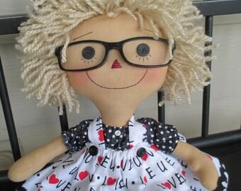 Blonde Raggedy lI love you doll