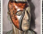 Brown leather half mask - Tempus -