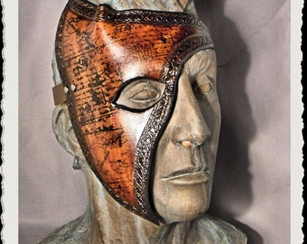 Brown leather half mask - Tempus -