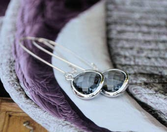Shimmer Me Fabulous Faceted Charcoal Earrings-wedding jewelry, hostess gift, birthday present, formal wear, prom, day to night chic