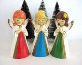 Vintage Angel Figurine Set Praying Girl Figure Mod Mid Century Cute Kitsch Hippie Christmas Decor Religious Boho Woodland