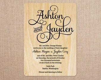 Real Wood Wedding Invitations - Bliss Script