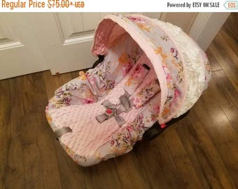 SALE Vintage,  shabby chic,  baby car seat cover, infant seat cover for girl- custom order always comes with free strap covers
