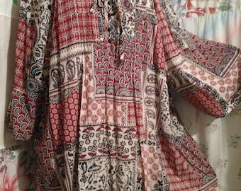 EXTRA LARGE,  Blouse, Bohemian Hippie Flowerchild Lightweight Cotton Tunic Top