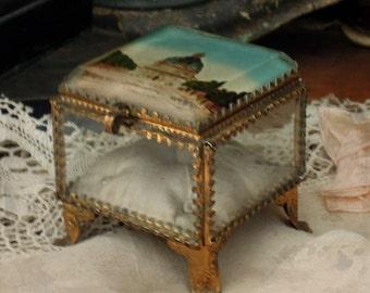 Antique French Ormolu Filigree Casket Trinket Jewelry Box / Beveled Glass Lid / French Style Decor / Hotel des Invalides / Souvenir