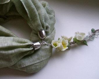 Scarf necklace, Scarf Jewelry,Neck Scarf,Infinity Scarf Necklace,Fabric Necklace, Olive green  scarf,Boho Style Scarf,Linen Scarf Necklace