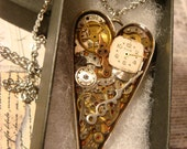 Clockwork Heart with Gears and Watch Parts Steampunk Pendant Heart Necklace- Great Valentines Day Gift (2377)