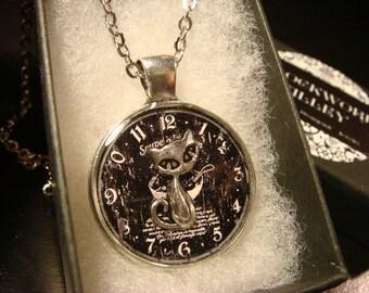 Silver Cat Over Clock Pendant Necklace (2254)