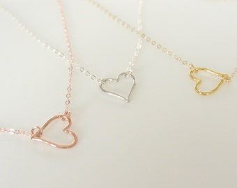 Open Heart Necklace, Silver, Gold, Rose Gold Heart Necklace Gift, Gift for Her, Heart Outline Necklace, Heart Jewelry, Best Friend necklace