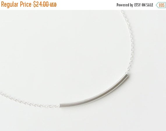 Silver Tube Necklace, Silver Bar Necklace, Curved Tube Necklace, Simple Everyday Layering necklace, Minimalist Jewelry, Dainty Tube Necklace