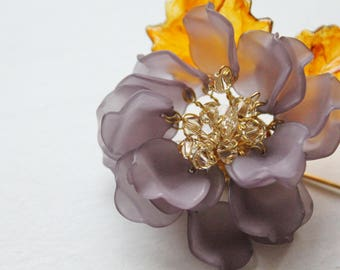 Peony Frosted Petal Floral Pin with Swarovski Crystals