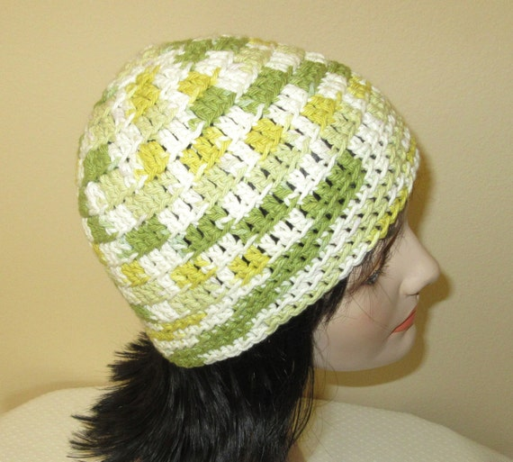 Cotton Beanie, White Green Beanie, Crochet Cotton Beanie, Summer Hat, Spring Hat, Beach Hat, Shades of Green Hat, Women's Cotton Hat