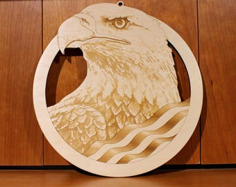 USA Bald Eagle Wall Art, Warm Pot Trivet, Pattern T64, USA, Bald Eagle, Laser Engraved, Paul Szewc, Masterpiece Laser