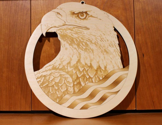 USA Bald Eagle Wall Art, Warm Pot Trivet, Pattern T64, USA, Bald Eagle, Laser Engraved, Paul Szewc, Masterpiece Laser